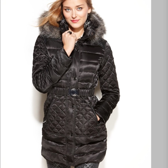 Guess faux fur trim quilted puffer jacket